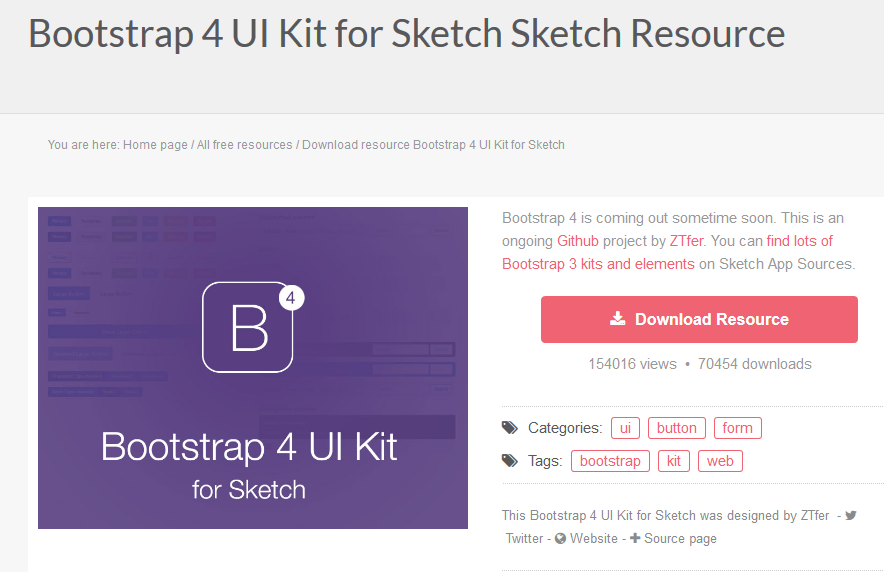 Bootstrap 4 UI Kit for Sketch