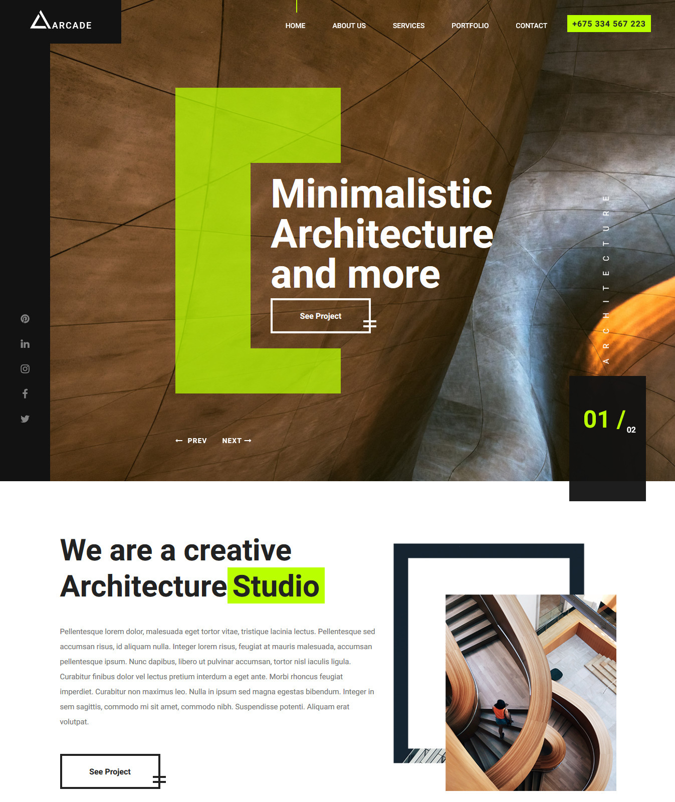 Arcade – Free HTML5 Architecture Responsive Website Template