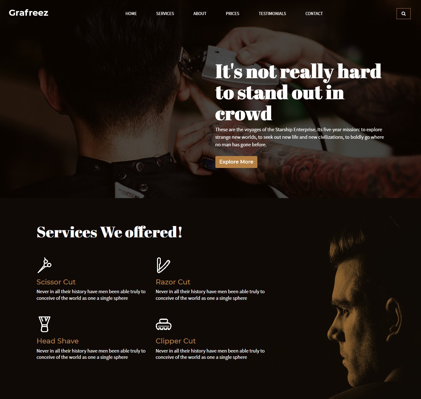 Razor – Free Bootstrap Barbershop Website Template Hair Salon, Color & Services