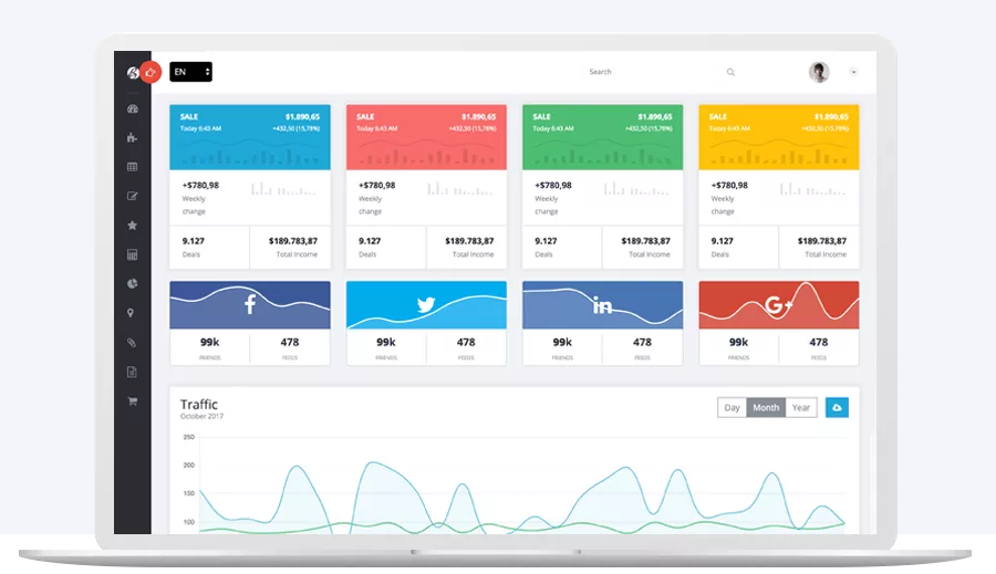 bootstrap simple admin panel template free