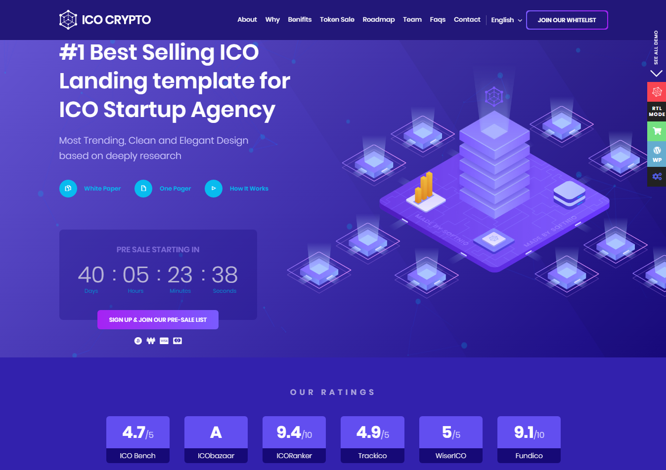 ICO Crypto - Bitcoin & Cryptocurrency Landing Page HTML Template