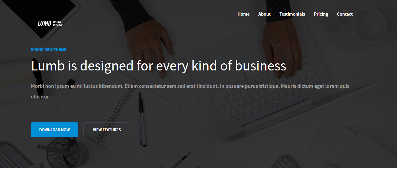 Lumb – one-page free bootstrap template