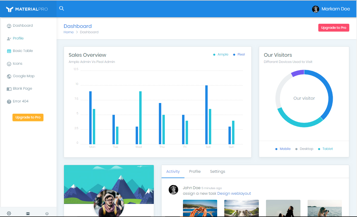 20+ Top Premium & Free Material Design Admin Template - ThemeSelection