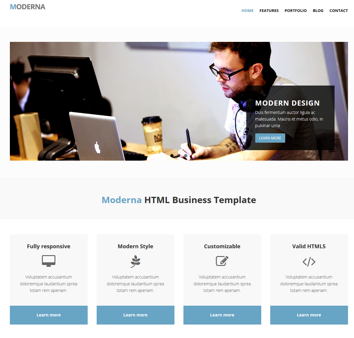 Free Bootstrap template for corporate – Moderna