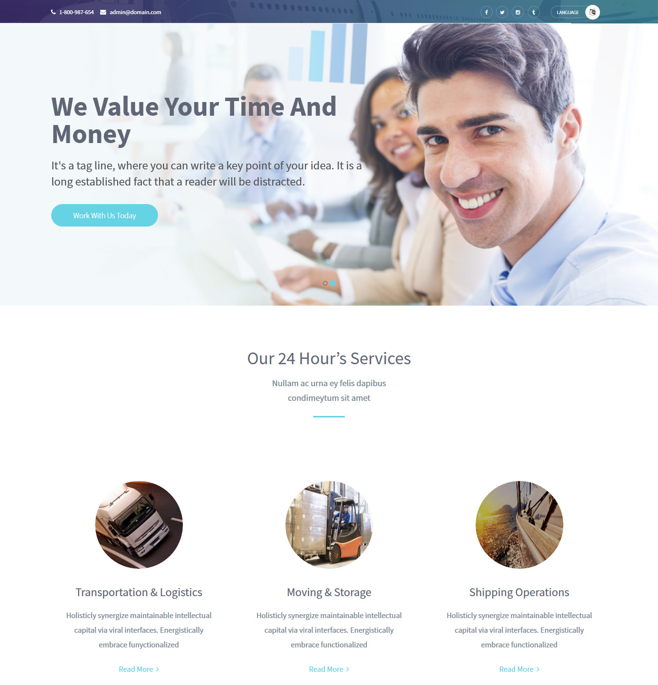 Transportation – Best Free Bootstrap HTML5 Logistics Website Template