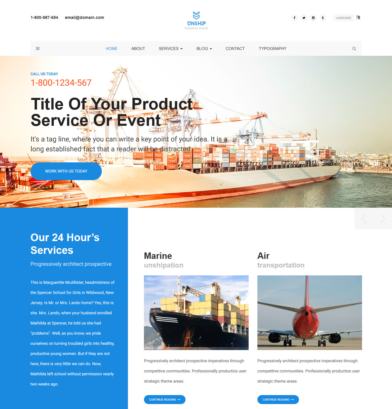 Unship – Free Trucking-Transportation & Logistics HTML Template