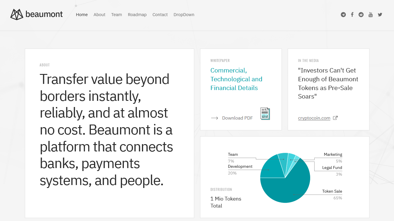 Beaumont – Cryptocurrency ICO HTML5