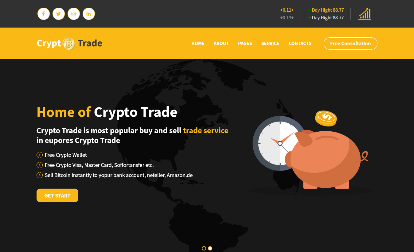Crypto Trade – ICO, Bitcoin and Cryptocurrency HTML Template