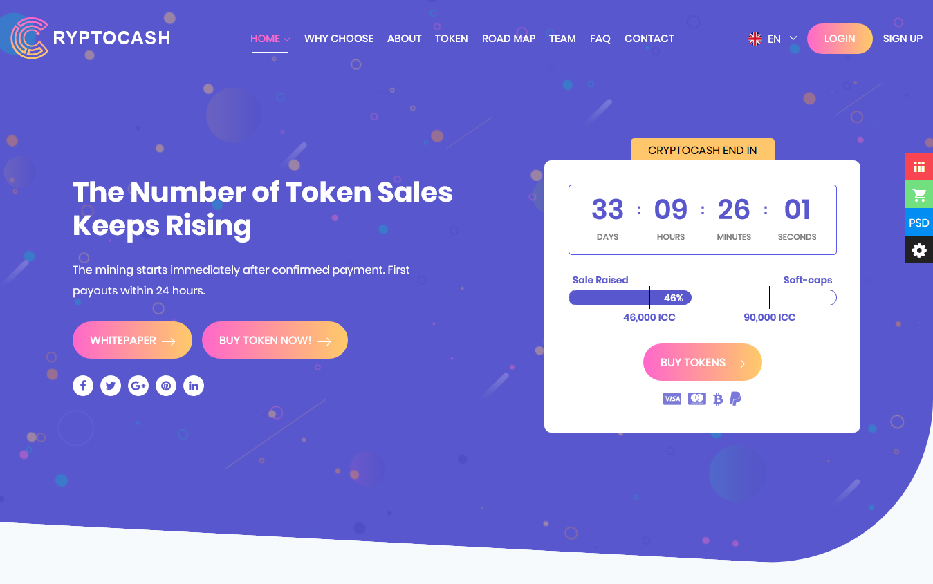 Cryptocash - ICO & Cryptocurrency Landing Page HTML