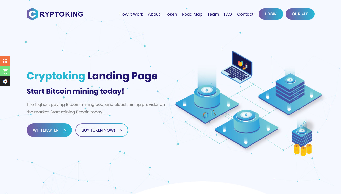 Cryptoking - Bitcoin & ICO Cryptocurrency Landing Page HTML Template
