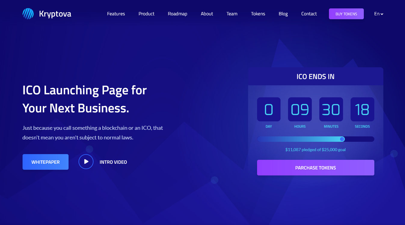 Kryptova - ICO Landing Page, ICO Bitcoin, and Cryptocurrency Template