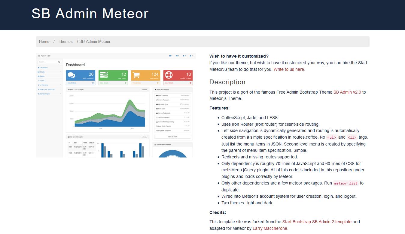 SB Admin Meteor Start Meteor