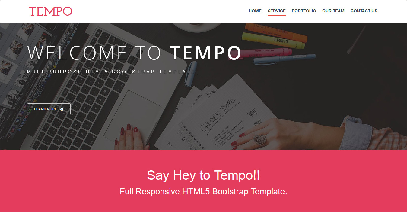Tempo – Free One page Bootstrap Theme