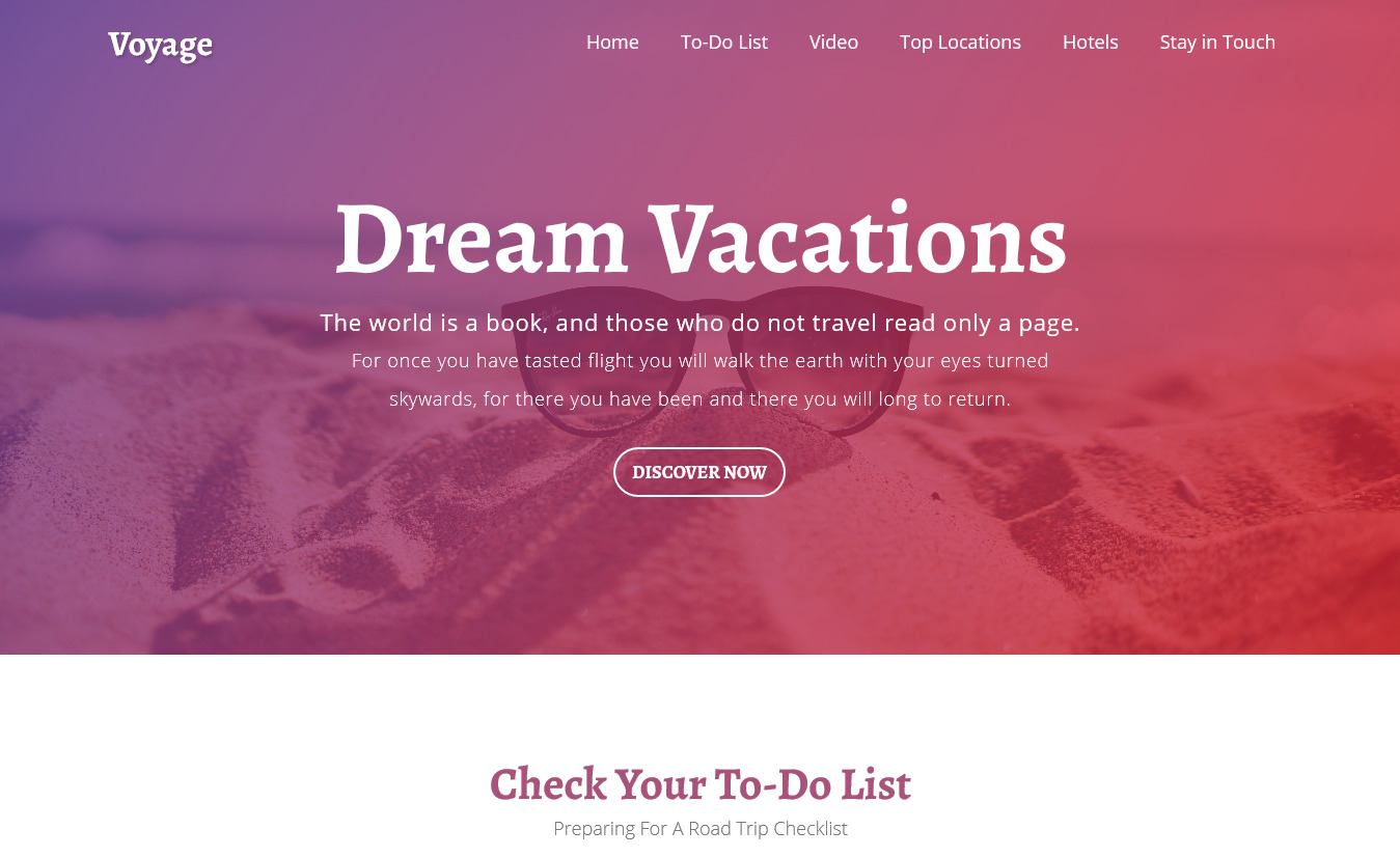Voyage - Free One Page Tourism Website Template