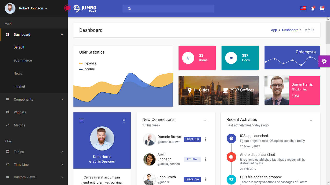 Jumbo React – React Redux Material Bootstrap Admin Template