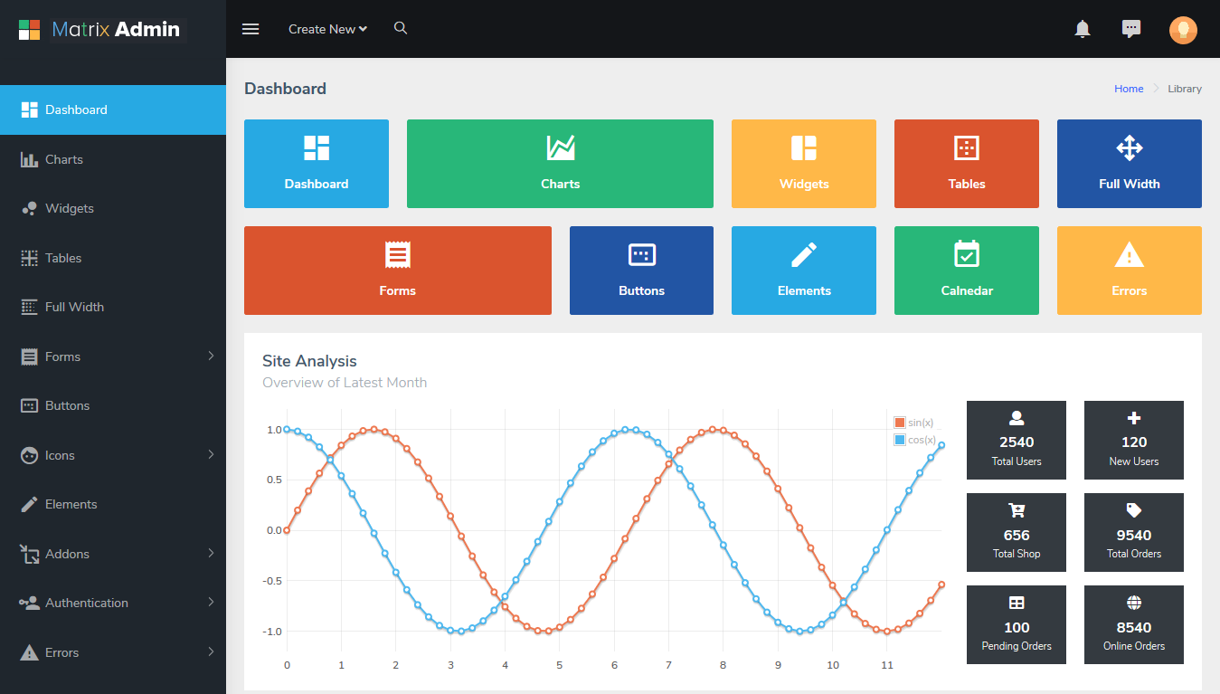 Matrix bootstrap admin template free download