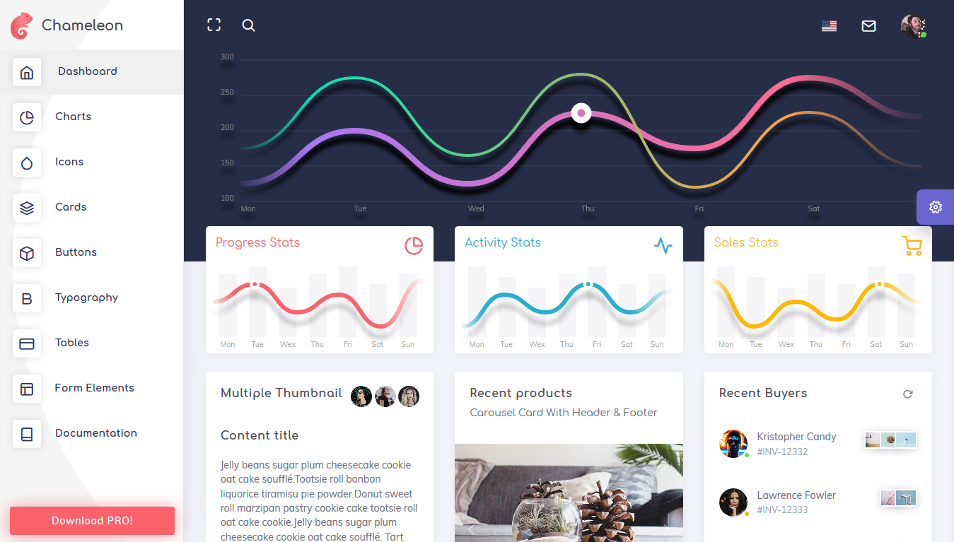 Chameleon lite bootstrap admin template free download