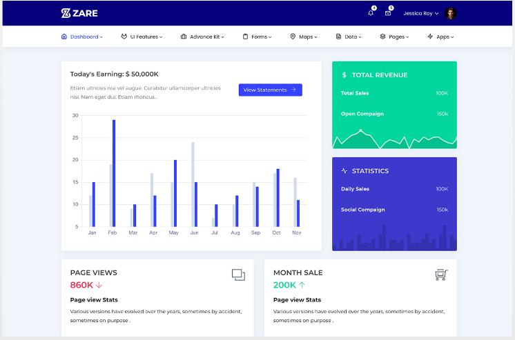 Zare - Bootstrap Admin Dashboard/