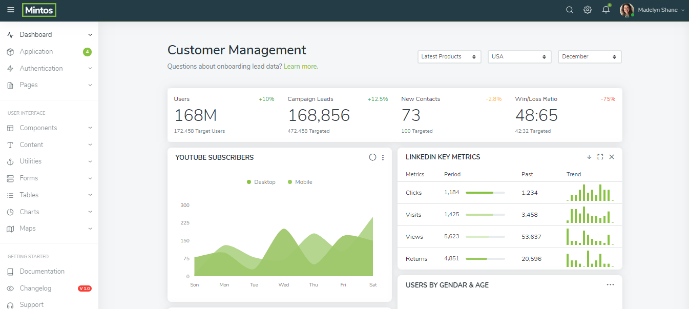 Mintos backend admin panel templates free download
