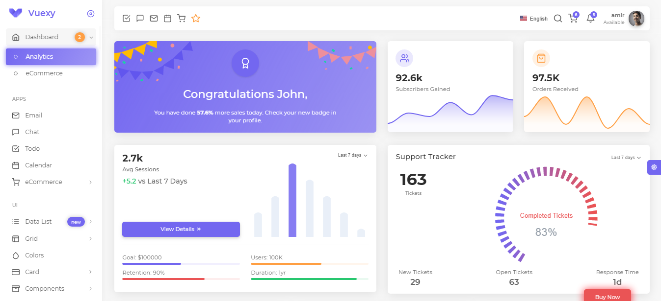 Vuexy-Vuejs Admin Template Download