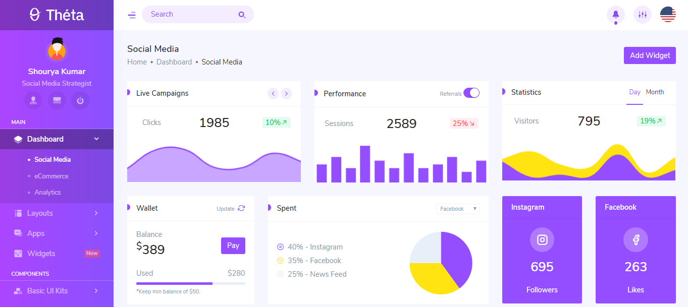 Theta Bootstrap + Laravel backend admin panel template free download