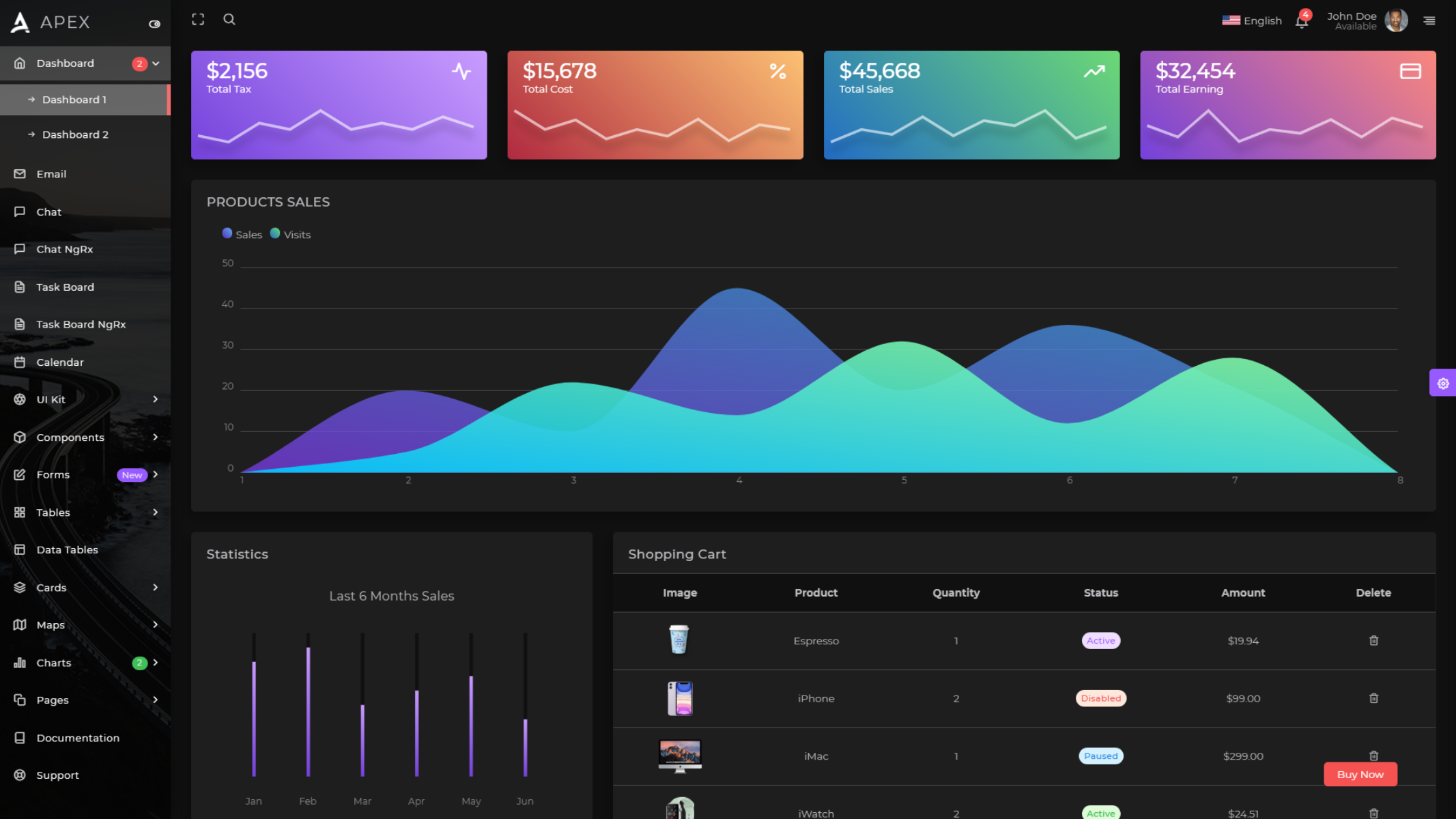 Apex Angular dark theme admin dashboard template