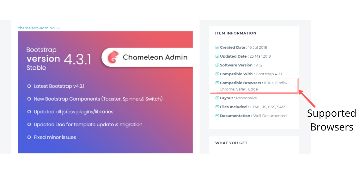 Chameleon Admin Template Browser Support