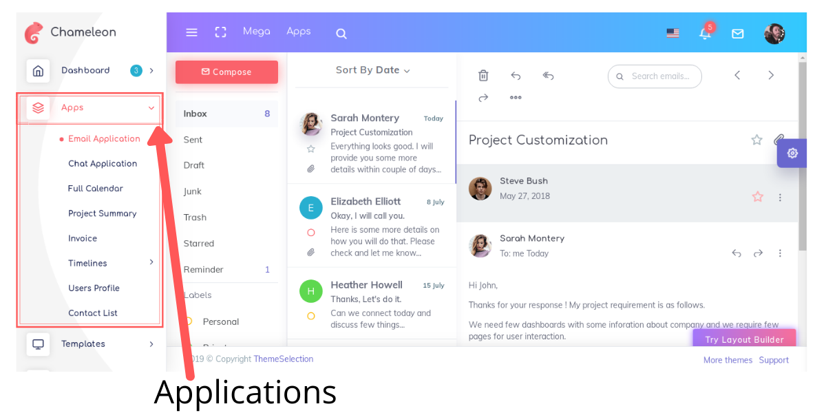 Chameleon admin template Applications