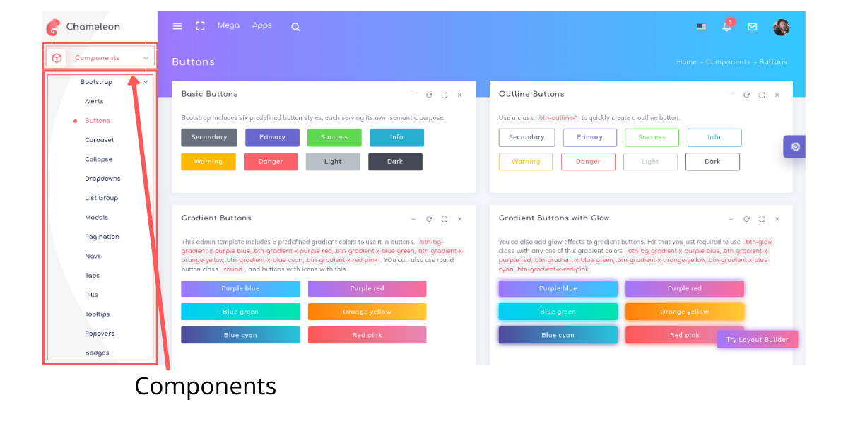 Components in Chameleon admin template