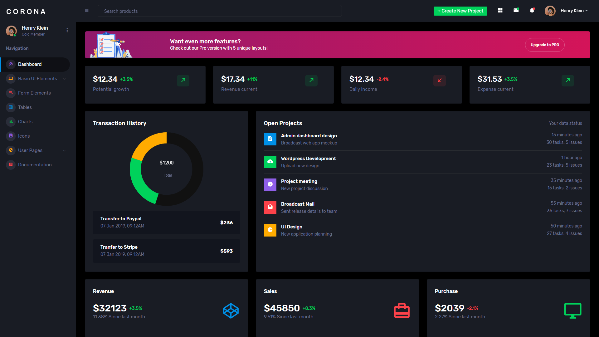 Corona Free dark theme admin dashboard template