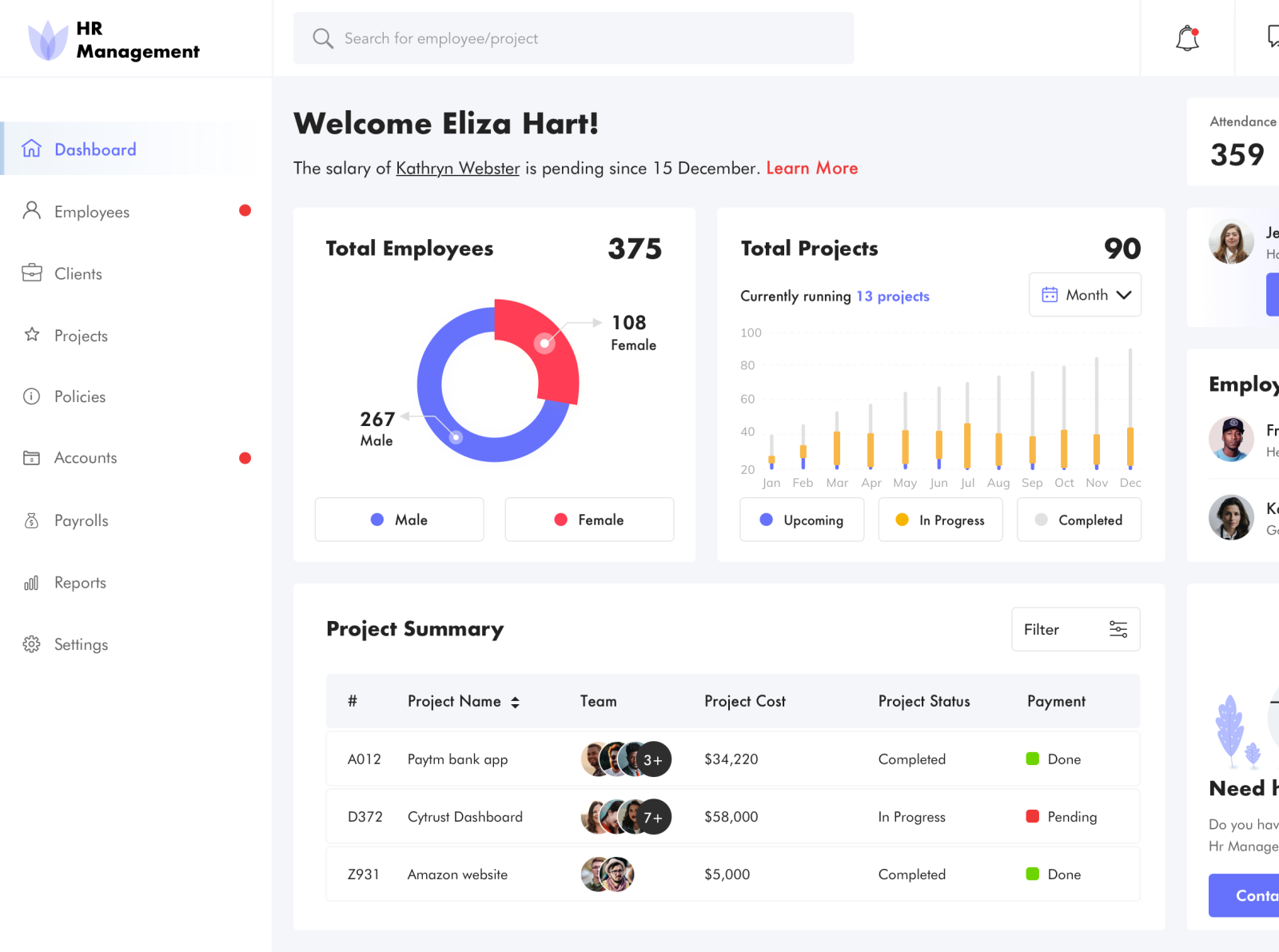 HR Management free sketch admin template