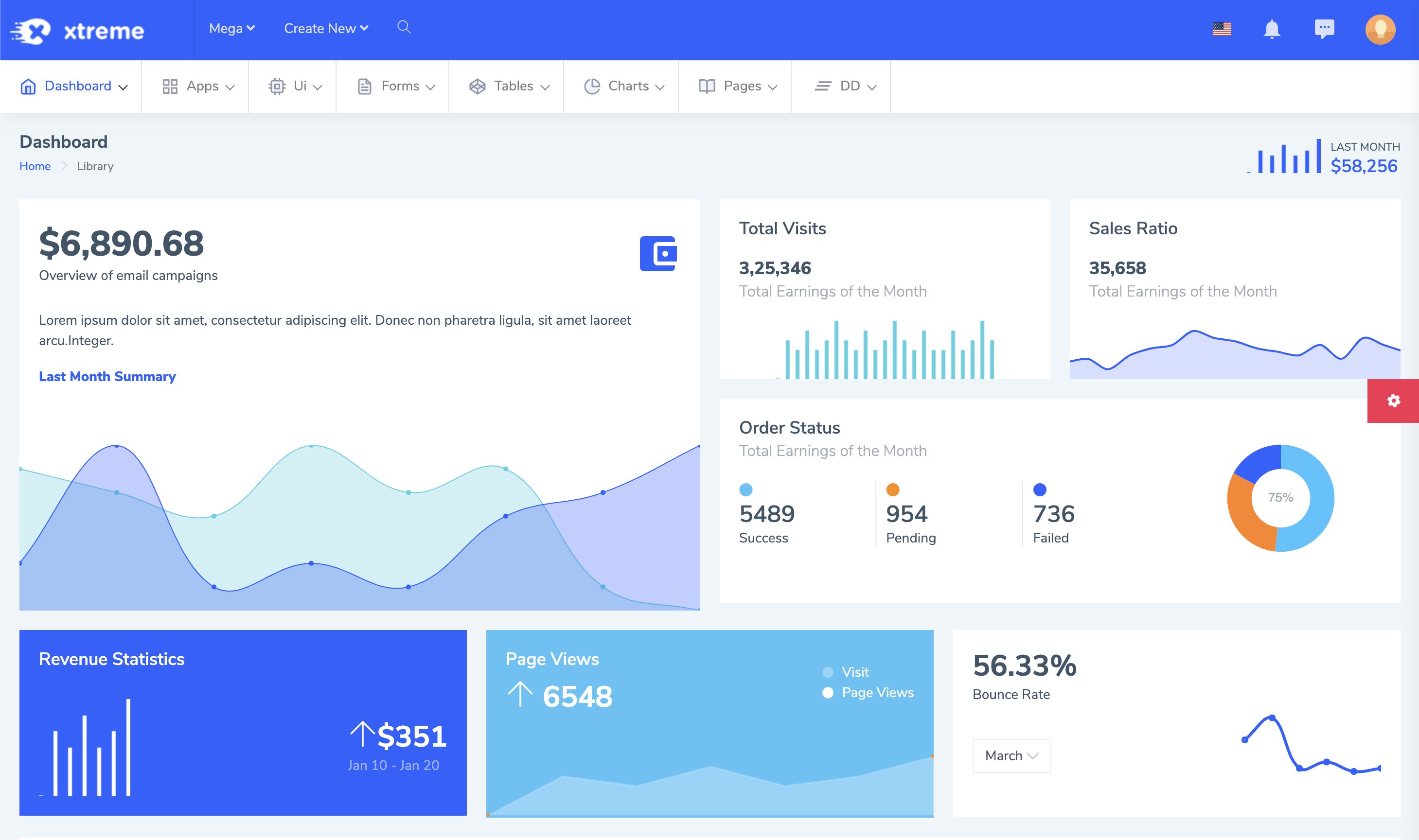 Xtreme Responsive Bootstrap 4 Admin Template