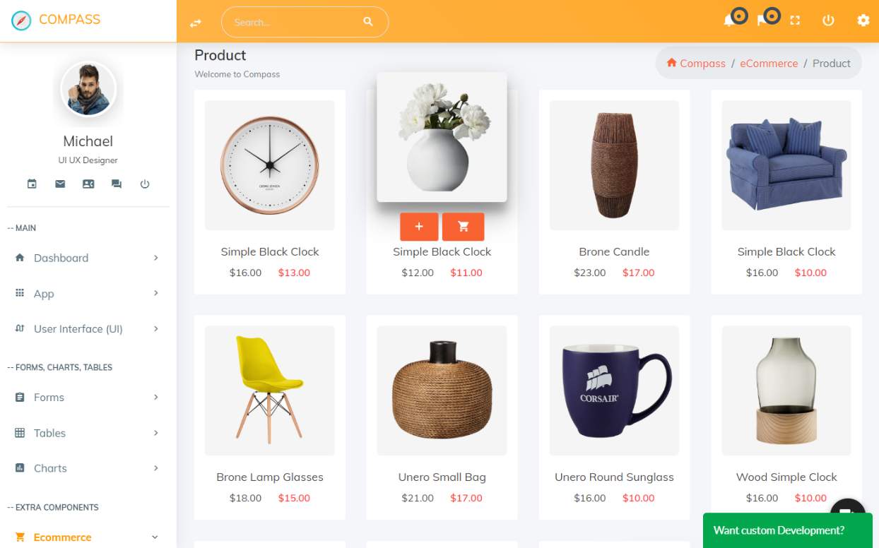 Compass bundle bootstrap E-commerce Admin Template free download/