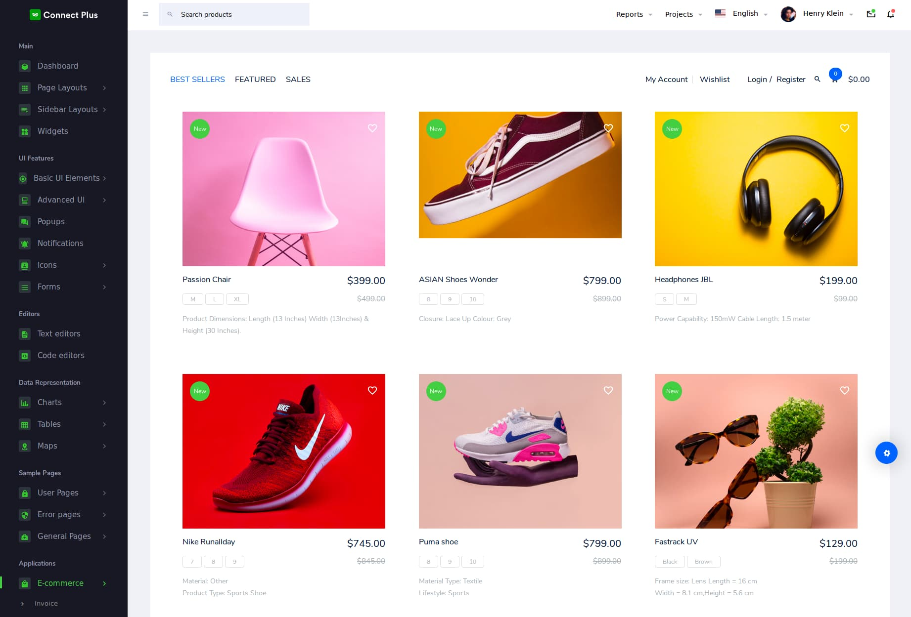 connect plus bootstrap E-commerce Admin Template free download
