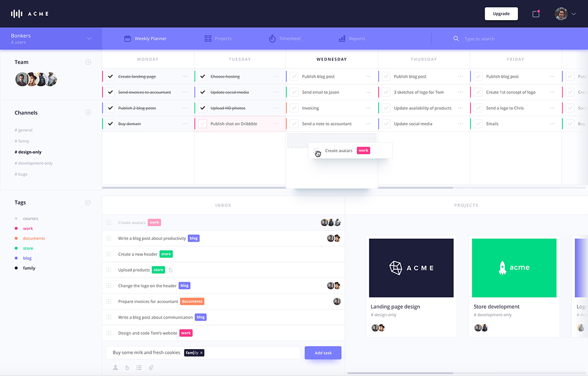 Planner dashboard UI kit