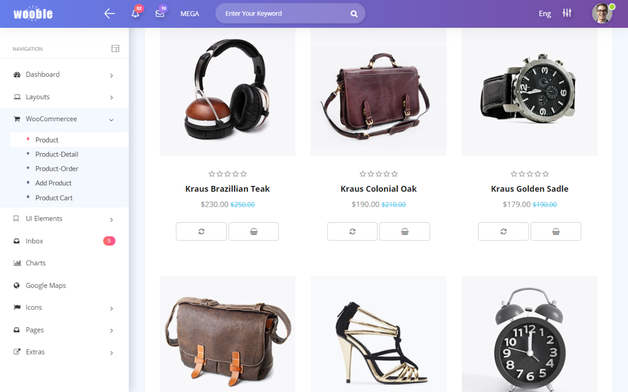 Wooble bootstrap E-commerce Admin Template free download/