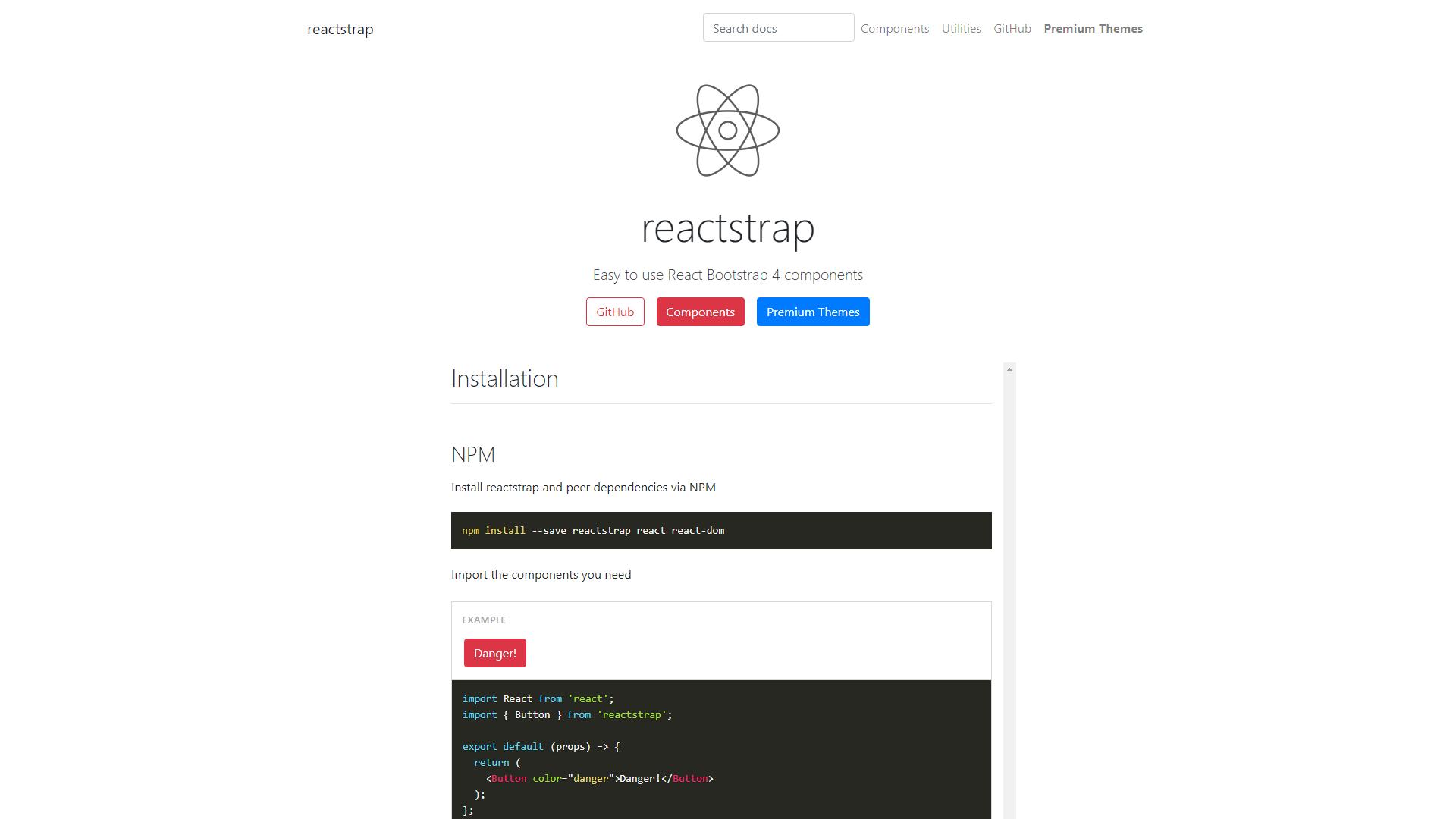 Reactstrap ReactJS UI Frameworks