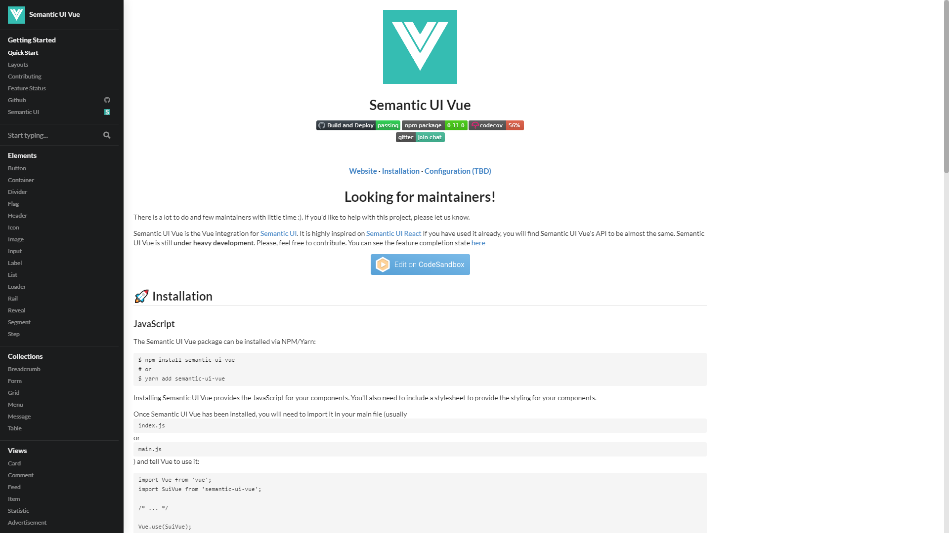 Semantic UI Vue VueJS UI Component Libraries