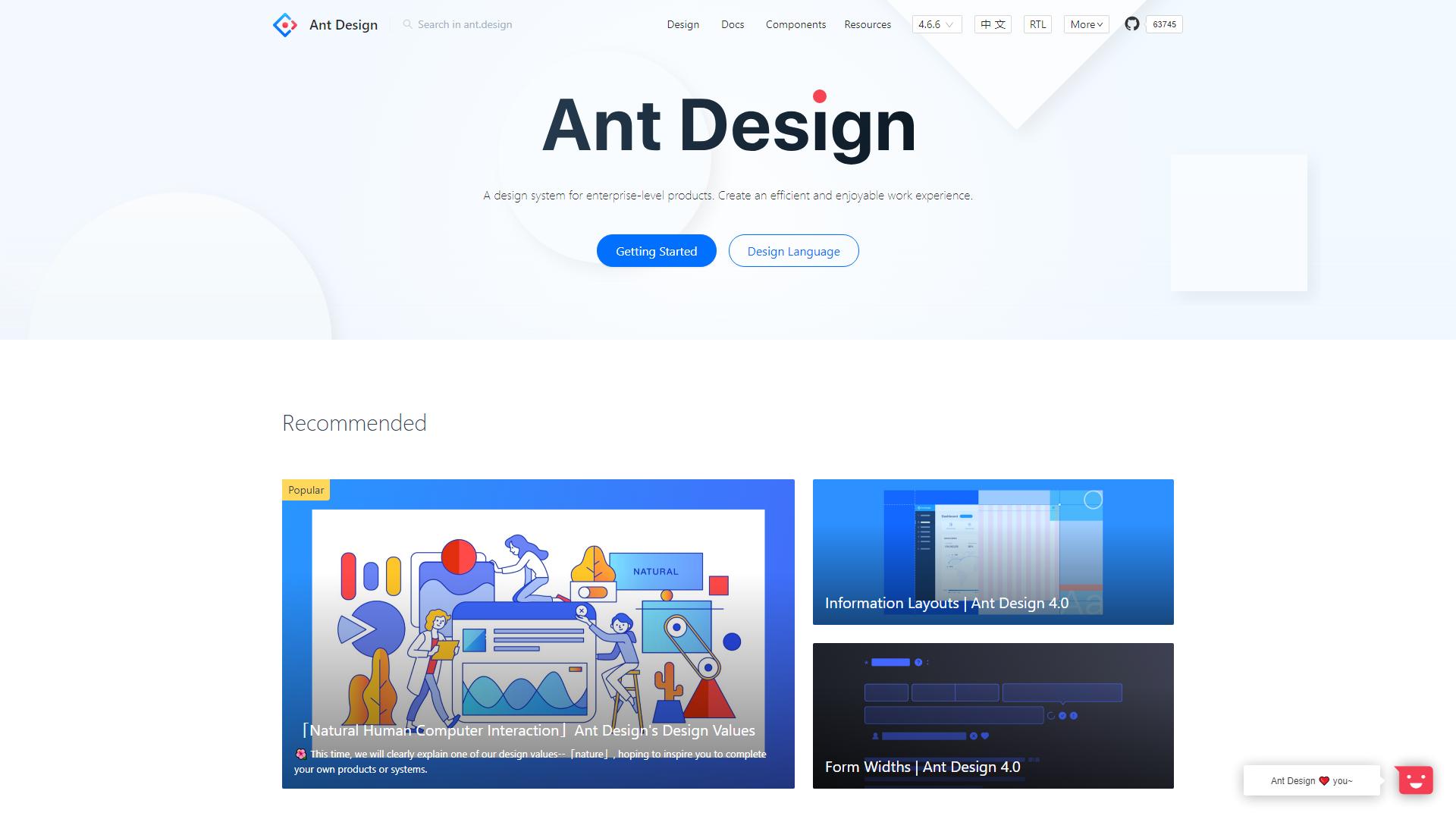 Ant Design ReactJS UI Frameworks