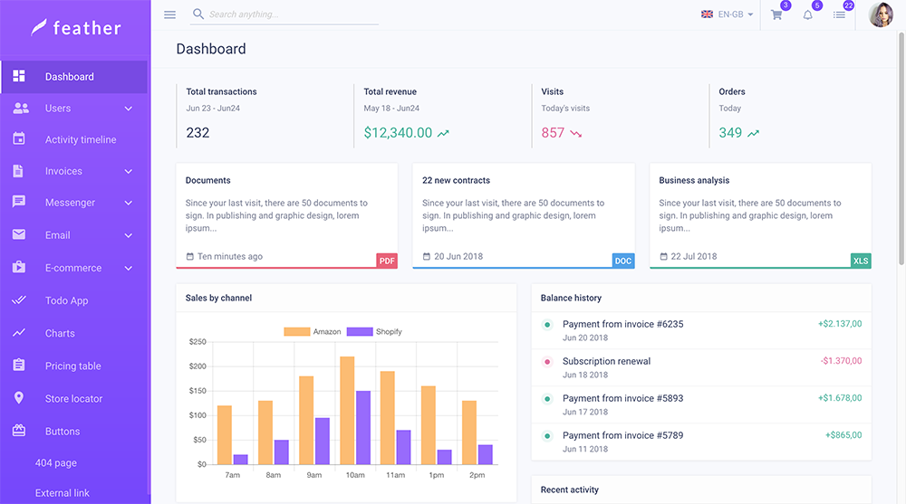 Feather react material admin template github