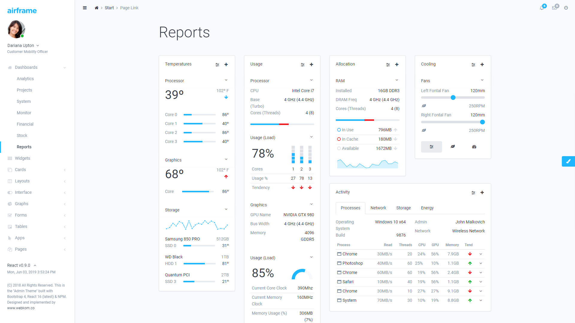 Airframe react bootstrap admin template free