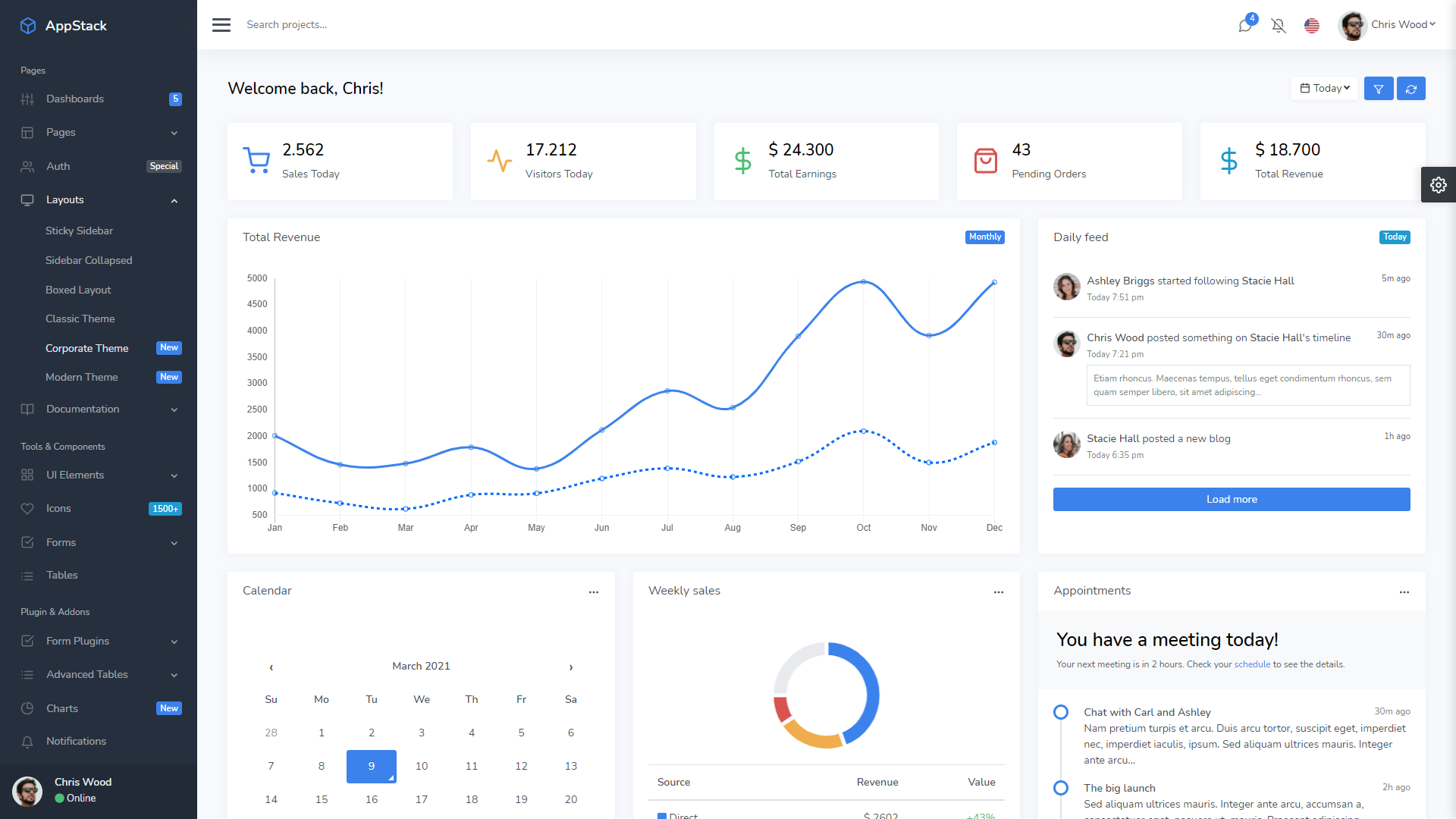 Appstack admin template