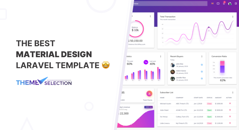 material design laravel template
