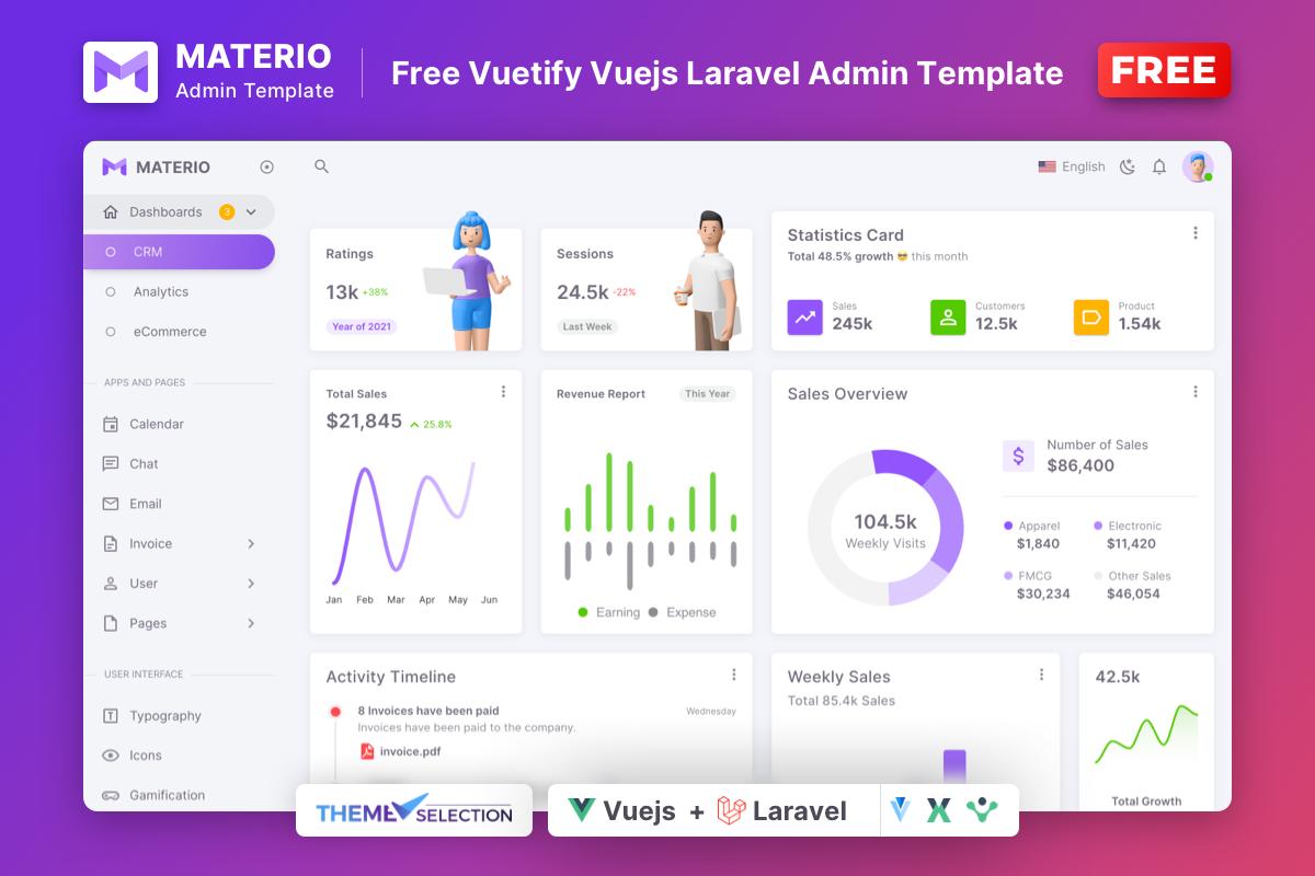 Materio Free VueJS Laravel Admin Template