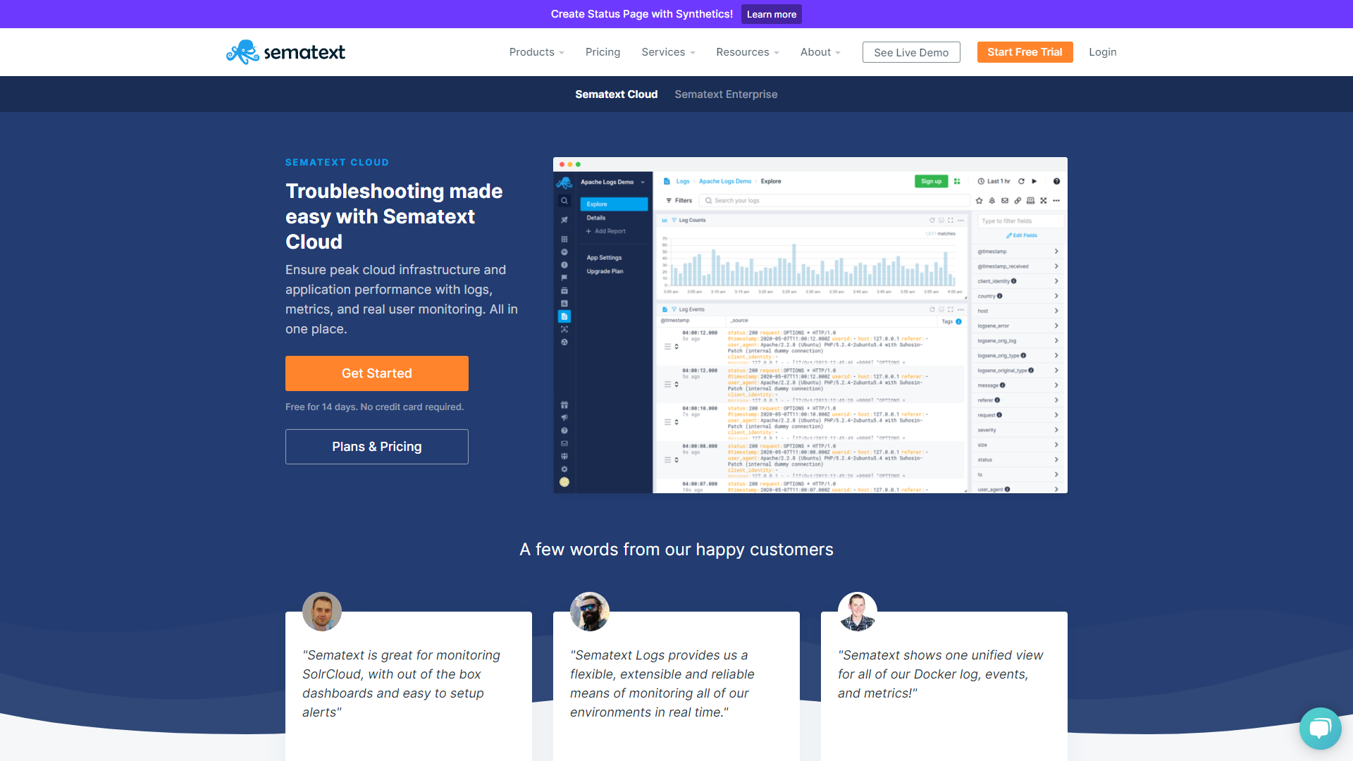 Sematext Frontend Monitoring Tools
