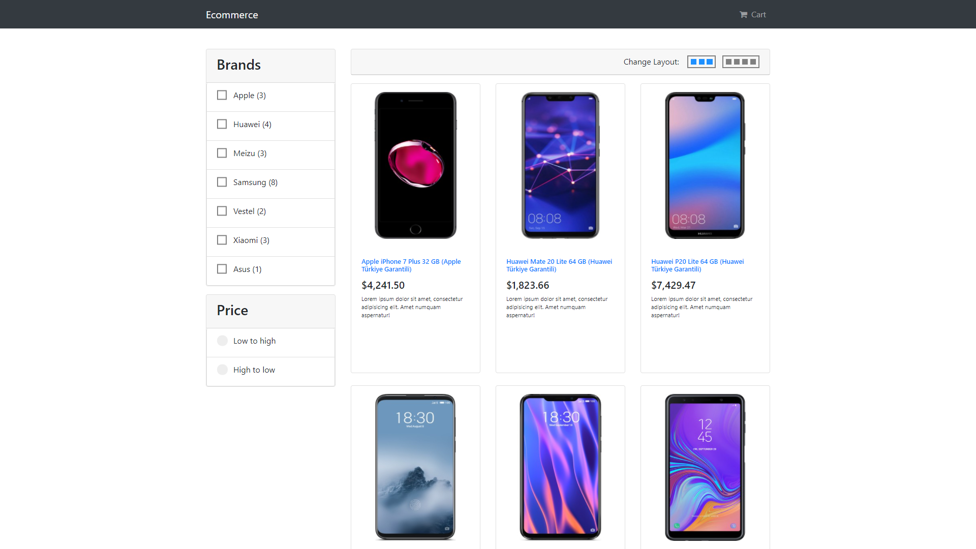 ecommerce app React Project Ideas For Beginners