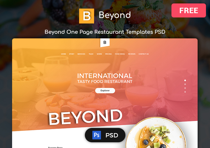 beyond free restaurant psd templates themeselection