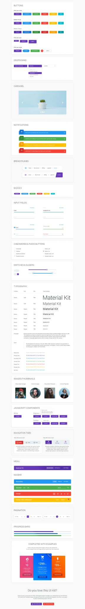 Material Kit - Free Material Design UI Kit PSD - ThemeSelection