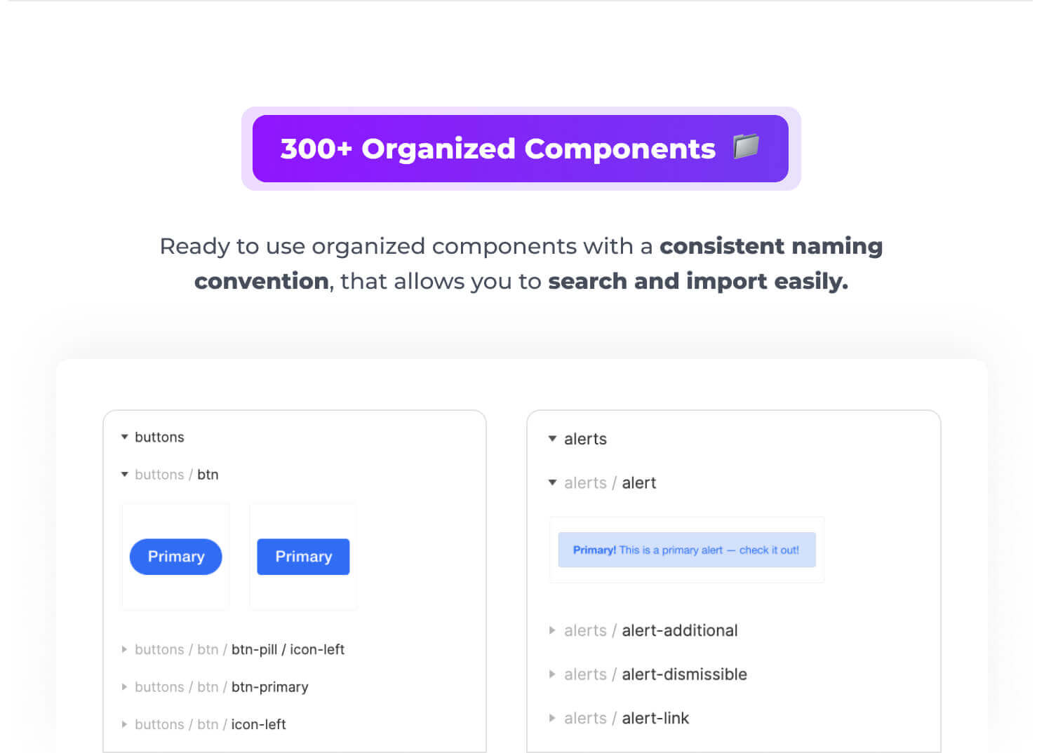 300+ Organized Components