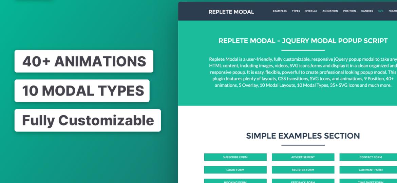 Replete Modal jQuery Modal Popup Script